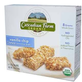 Cascadian Farm, Organic Chewy Granola Bars, Vanilla Chip, 6 Bars, 1.2 oz (35 g) Each