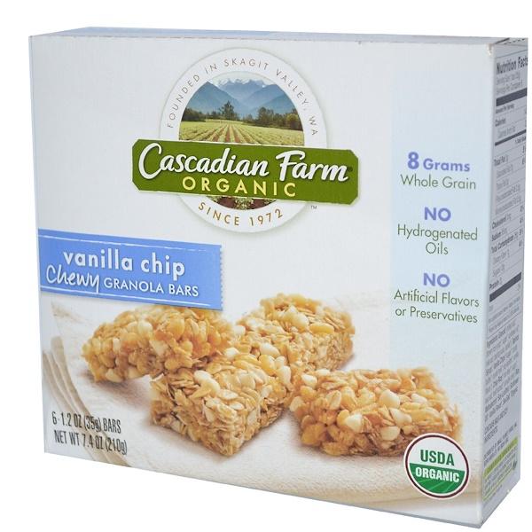 Cascadian Farm, Organic Chewy Granola Bars, Vanilla Chip, 6 Bars, 1.2 oz (35 g) Each
