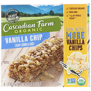 Каскадиан Фарм, Organic Chewy Granola Bars, Vanilla Chip, 6 Bars, 1.2 oz (35 g) Each отзывы покупателей