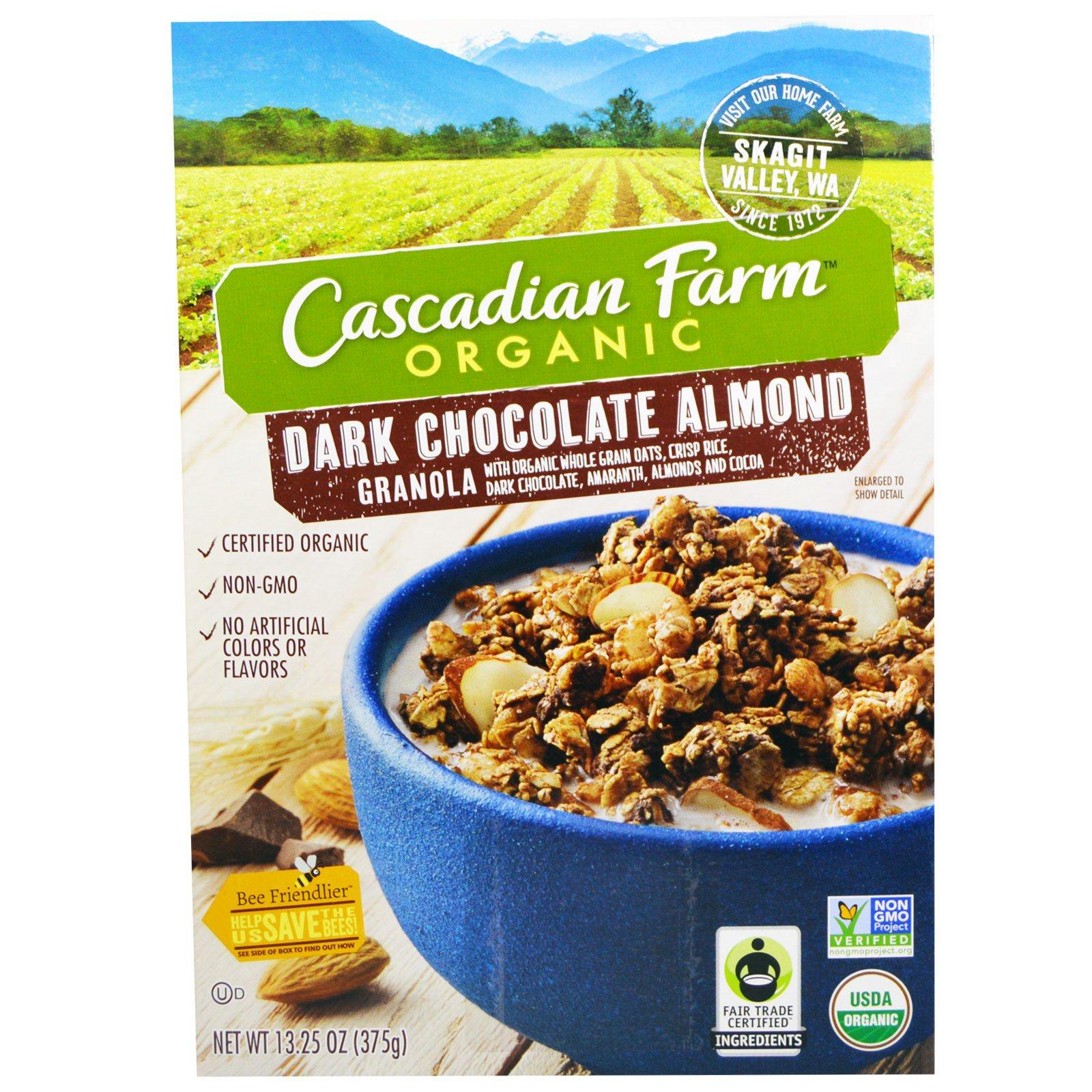 Cascadian Farm, Органический черный шоколад, гранола, миндаль, 13, 25 унций (375 г)