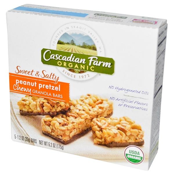 Cascadian Farm, Organic, Chewy Granola Bars, Sweet & Salty, Peanut Pretzel, 5 Bars, 1.2 oz (35 g) Each
