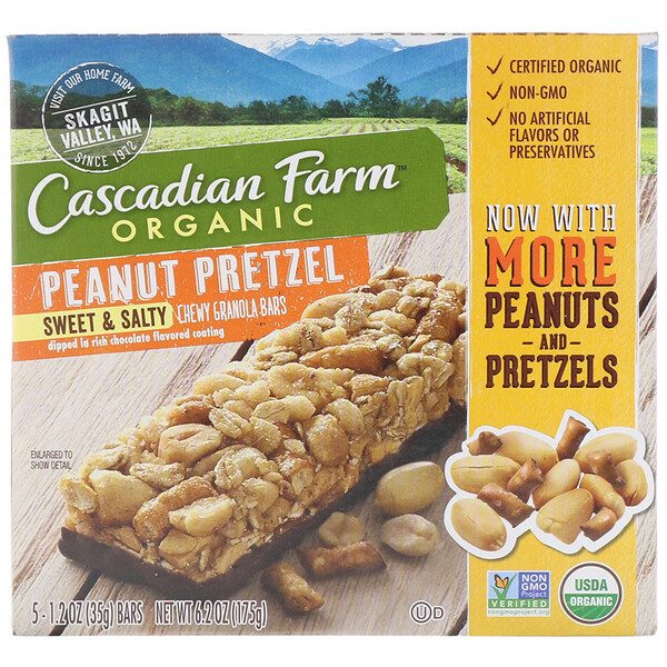 Organic, Chewy Granola Bars, Sweet & Salty, Peanut Pretzel, 5 Bars, 1.2 oz (35 g) Each