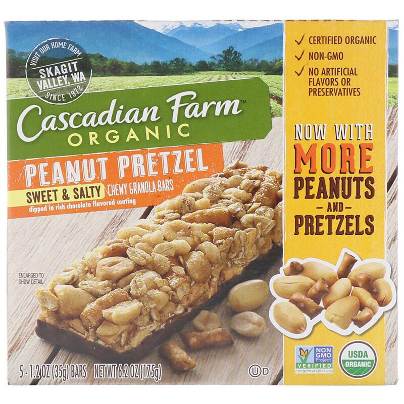 Organic, Chewy Granola Bars, Sweet & Salty, Peanut Pretzel, 5 Bars, 1.2 oz (35 g) Each