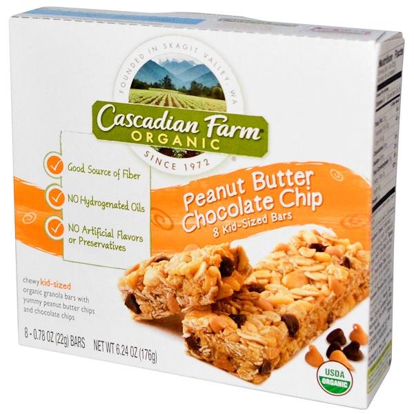Cascadian Farm, Organic, Chewy Kid-Sized Granola Bars, Peanut Butter Chocolate Chip, 8 Bars, 0.78 oz (22 g) Each  (Discontinued Item)