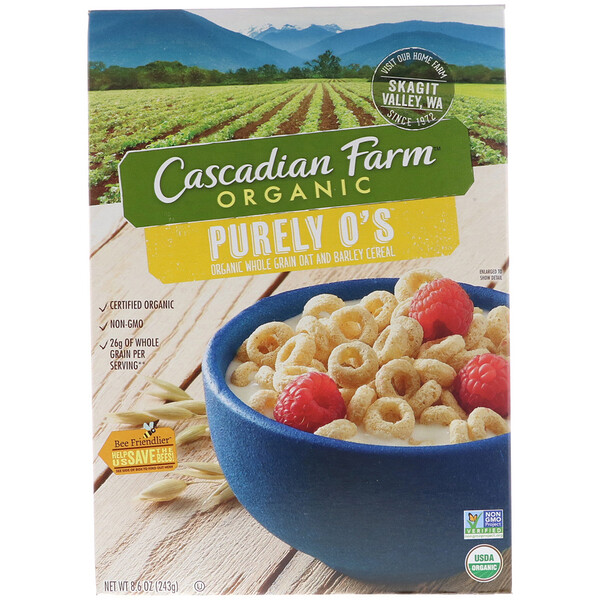 Cascadian Farm, Organic, Purely O's, Organic Whole Grain Oat and Barley Cereal, 8.6 oz (243 g) (Discontinued Item)