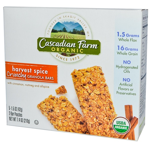 Cascadian Farm, Organic Crunchy Granola Bars, Harvest Spice, 5 Pouches, 1.5 oz (42 g) Each Pouch (Discontinued Item)