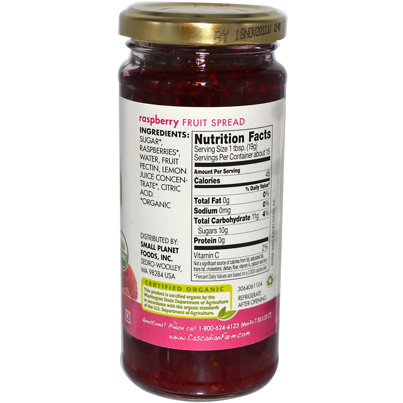 Cascadian Farm, Органический, фруктовый спред, малина, 10 унций (284 г)