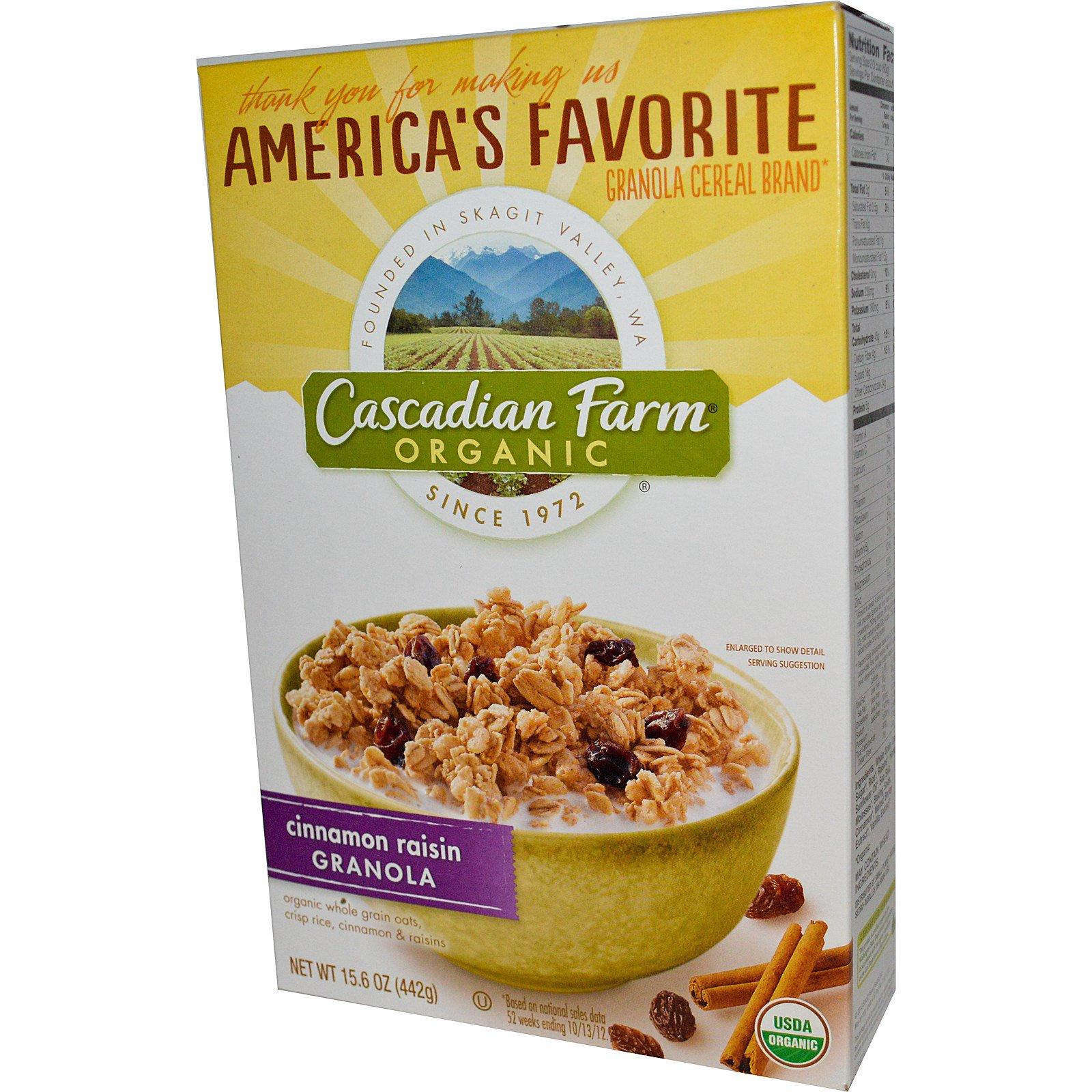 Cascadian Farm, Organic, гранола с корицей и изюмом 15.6 унции (442 г)