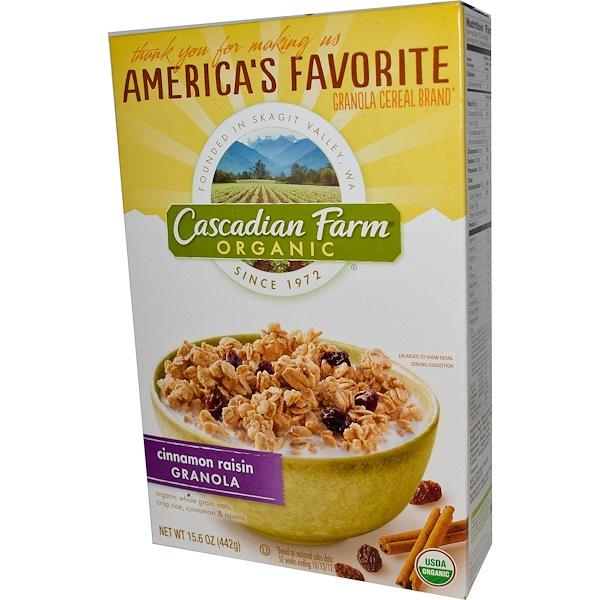 Cascadian Farm, 有機,肉桂葡萄乾格蘭諾拉麥片,15、6盎司(442克)