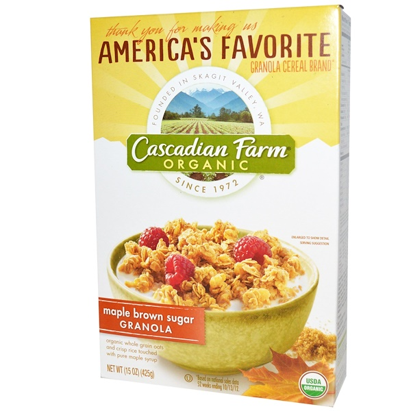 Cascadian Farm, 有機燕麥穀物,楓糖紅糖,15盎司(425克)