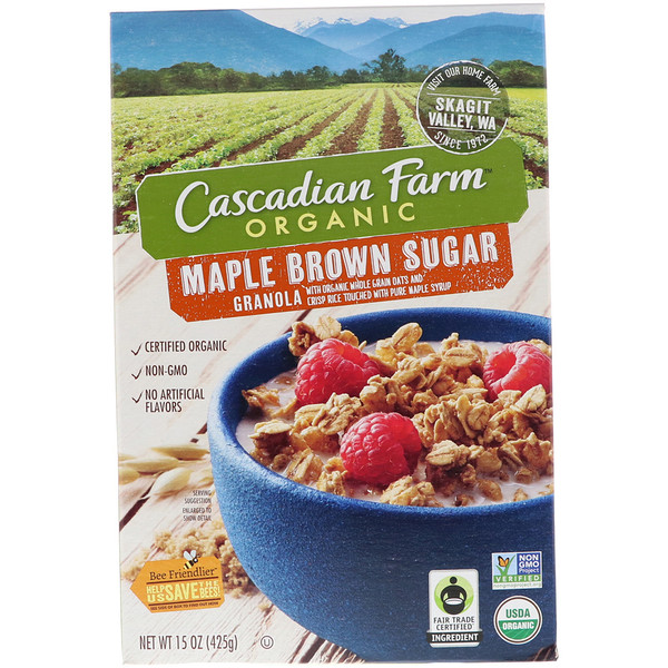 Cascadian Farm, オーガニックグラノーラシリアル、メープルブラウンシュガー、15 oz (425 g) (Discontinued Item)