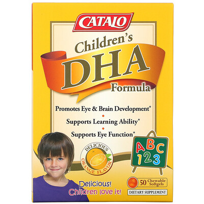 Catalo Naturals Children's DHA Formula, Orange Flavor, 50 Chewable Softgels