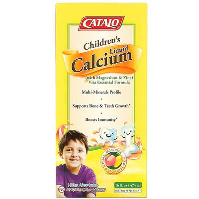Catalo Naturals Children's Liquid Calcium with Magnesium & Zinc, Peach and Mango, 16 fl oz (474 ml)