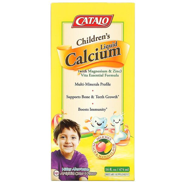 Children's Liquid Calcium with Magnesium & Zinc, Peach and Mango, 16 fl oz (474 ml)