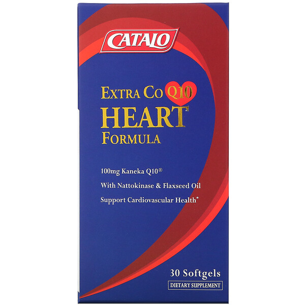 Catalo Naturals, Extra CoQ10 Heart Formula with Nattokinase & Flaxseed Oil, 30 Softgels