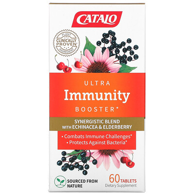 Catalo Naturals Ultra Immunity Booster, Echinacea & Elderberry Blend, 60 Tablets