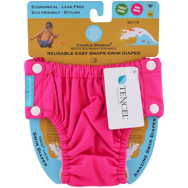Reusable Easy Snaps Swim Diaper, Hot Pink, Medium, 1 Diaper