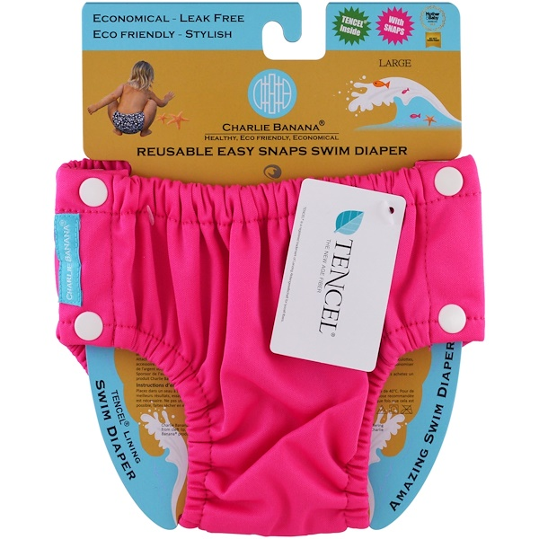 Charlie Banana, Reusable Easy Snaps Swim Diaper, Hot Pink, Large, 1 Diaper (Discontinued Item)
