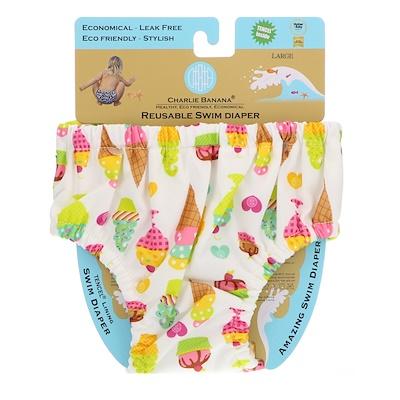 Charlie Banana 可重複使用的游泳尿褲,冰淇淋,大號,1尿布