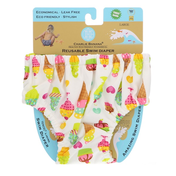 Charlie Banana, Reusable Swim Diaper, Gelato, Large, 1 Diaper (Discontinued Item)
