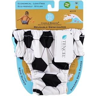 Charlie Banana, Reusable Swim Diaper, Soccer, Medium, 1 Diaper