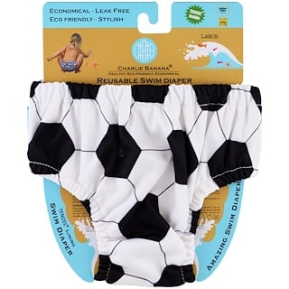 Charlie Banana, Reusable Swim Diaper, Soccer, Large, 1 Diaper