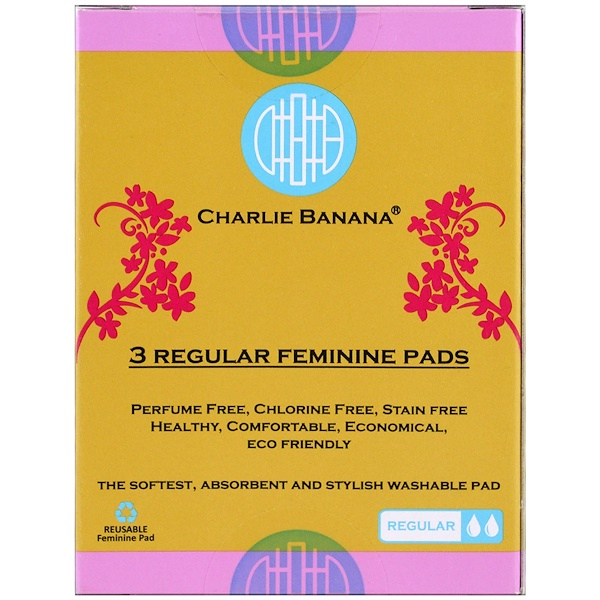 Charlie Banana, Regular Feminine Pads, Floralie, 3 Pads (Discontinued Item)