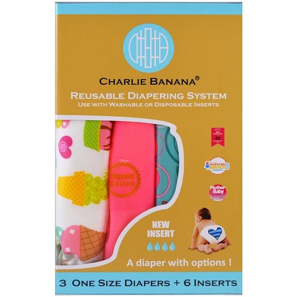 Charlie Banana, Многоразовые подгузники, универсальный размер, для девочки, 3 подгузника + 6 вкладышей (Discontinued Item)