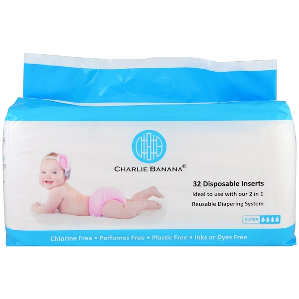Charlie Banana, Disposable Inserts, Reusable Diapering System, 32 Inserts (Discontinued Item)
