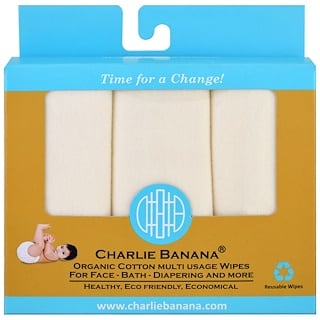 Charlie Banana, Organic Cotton Multi Usage Wipes , 10 Reusable Wipes