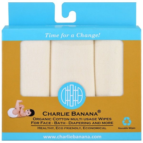 Charlie Banana, Organic Cotton Multi Usage Wipes , 10 Reusable Wipes (Discontinued Item)
