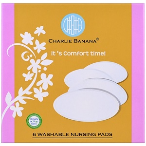 Чарли Банана, Washable Nursing Pads, White, 6 Pads отзывы