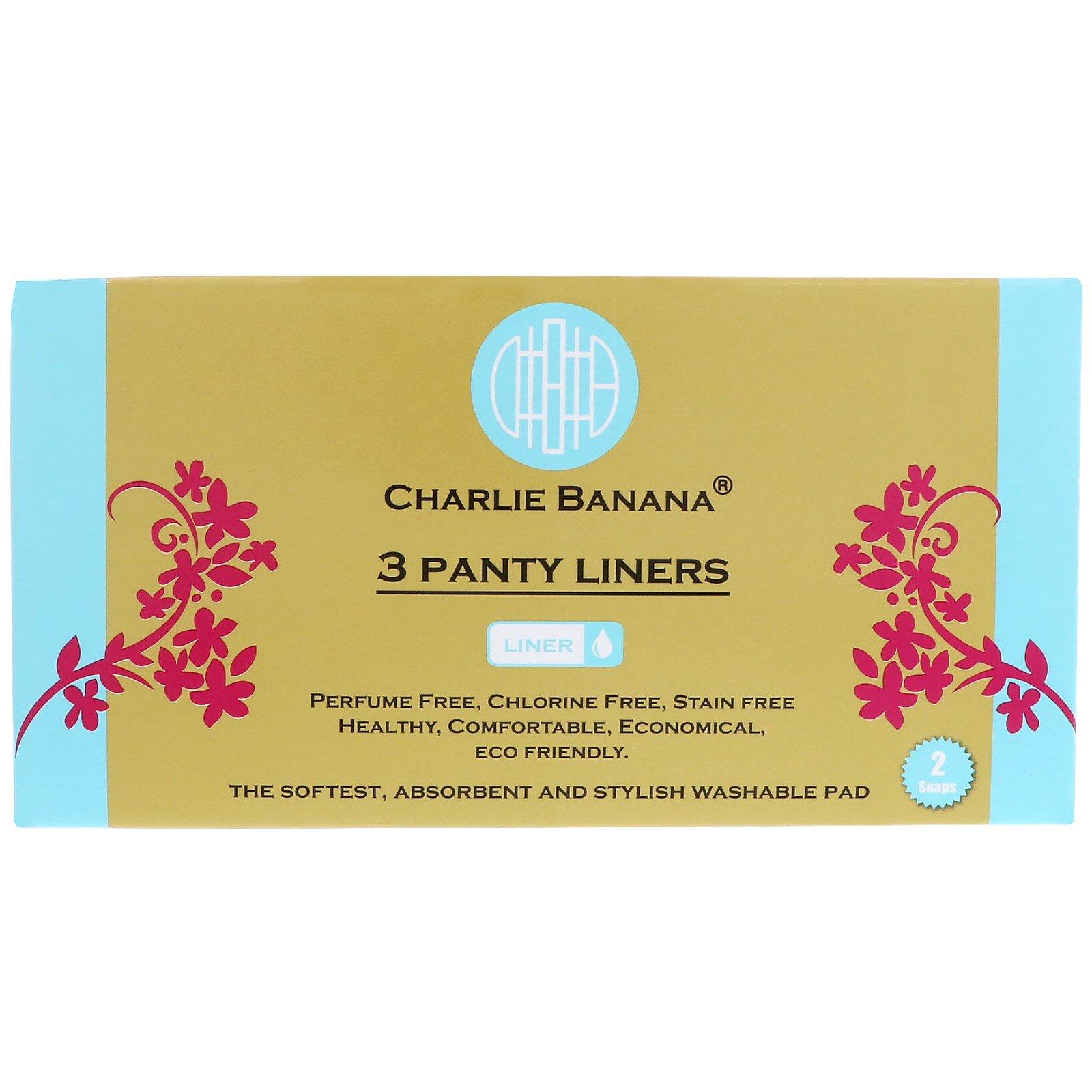 Charlie Banana, Panty Liners, White, 3 Liners + 1 Tote Bag