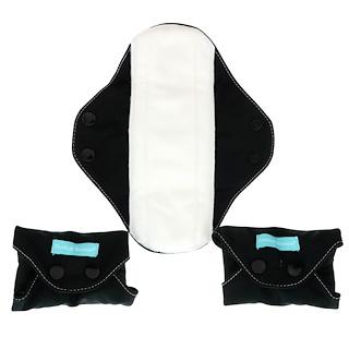 Charlie Banana, Regular Feminine Pads, Black, 3 Pads + 1 Tote Bag