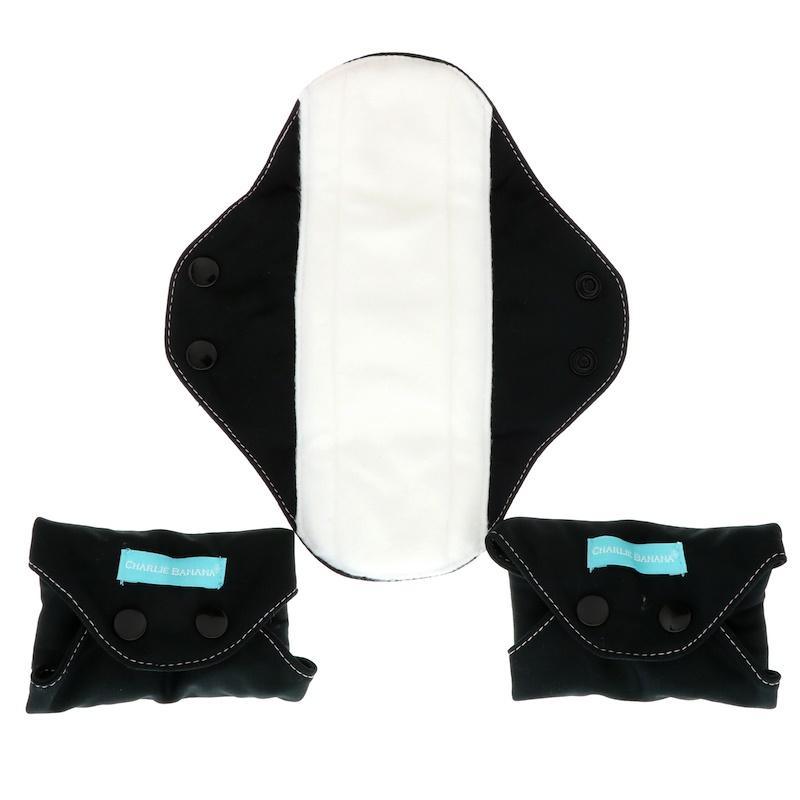 Regular Feminine Pads, Black, 3 Pads + 1 Tote Bag