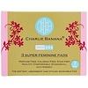 Charlie Banana, Super Feminine Pads, White, 3 Pads + 1 Tote Bag
