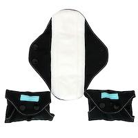 Супер-прокладки для женщин, Черные, 3 прокладки + 1 эко-сумка - фото