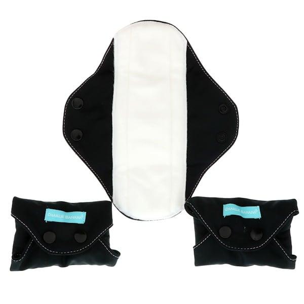 Charlie Banana, Toallas súper femeninas, negras, 3 toallas + 1 bolsa