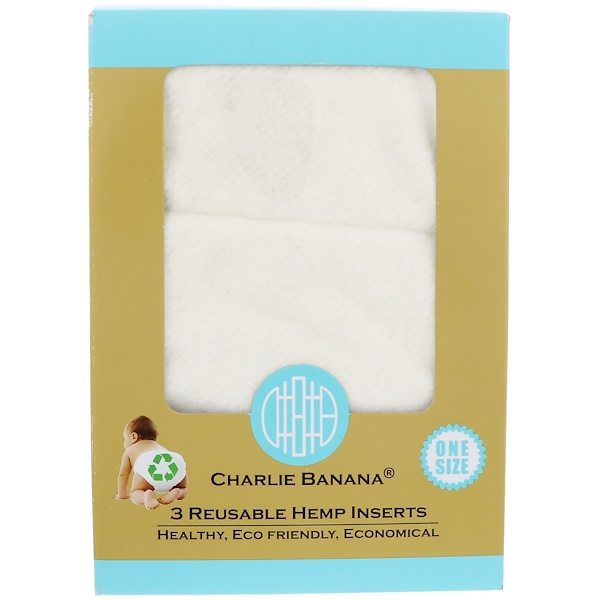 Charlie Banana, Reusable Hemp Inserts, One Size, 3 Inserts (Discontinued Item)