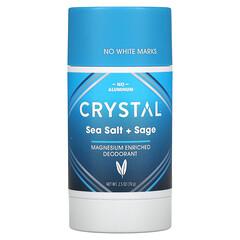 Crystal Body Deodorant, 鎂淨味劑,海鹽 + 鼠尾草,2.5 盎司(70 克)