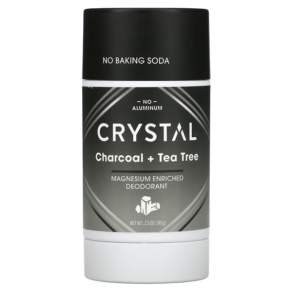 Crystal Body Deodorant, Magnesium Enriched Deodorant, Charcoal + Tea Tree, 2.5 oz (70 g)