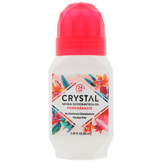 Crystal Body Deodorant, Natural Deodorant Roll-On, Pomegranate, 2.25 fl oz (66 ml)