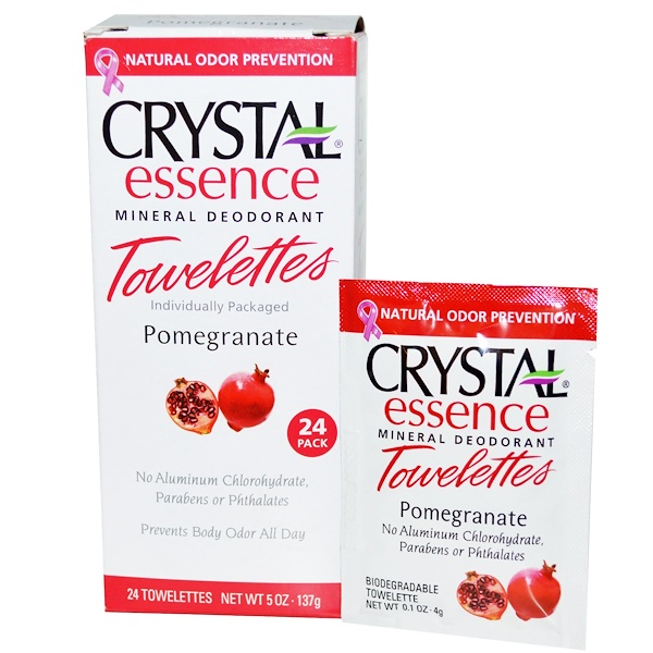 Crystal Body Deodorant, Crystal Essence Mineral Deodorant Towelettes, Pomegranate, 24 Towelettes, 0.1 oz (4 g) Each (Discontinued Item)