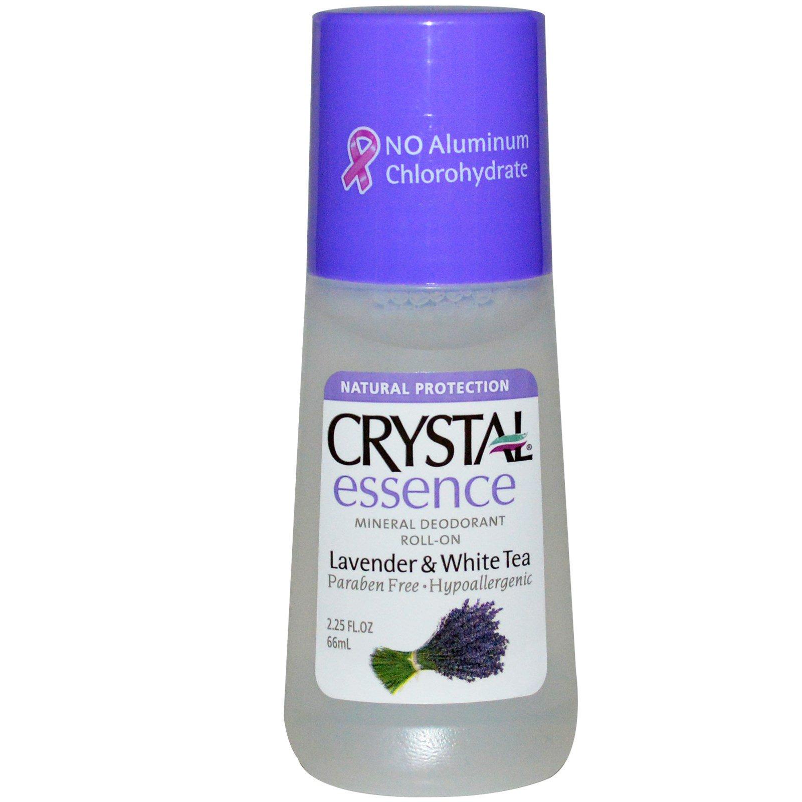 Crystal Body Deodorant, Минеральный шариковый дезодорант с  лавандой и белым чаем, 2.25 жидких унций (66 мл)