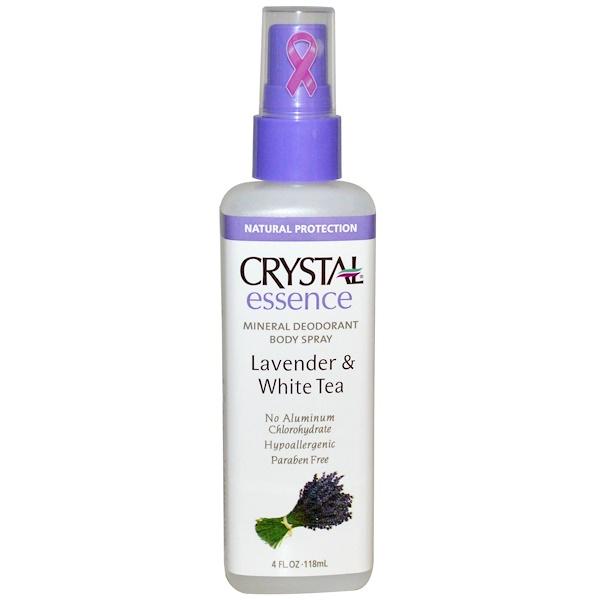 Crystal Body Deodorant, 水晶精華液礦物止汗噴霧(薰衣草和白茶),4盎司(118毫升)