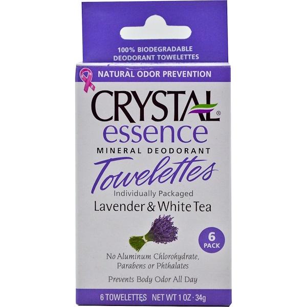 Crystal Body Deodorant, エッセンス・ミネラル脱臭ウェットティッシュ、ラベンダー&ホワイトティー、ウェットティッシュ6枚、各0.1オンス(34 g) (Discontinued Item)