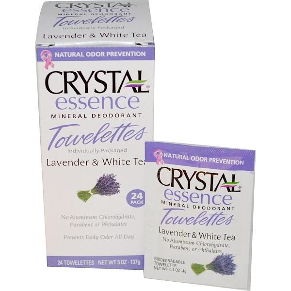 Crystal Body Deodorant, Crystal Essence Mineral Deodorant, Lavender & White Tea, 24 Towelettes (Discontinued Item)