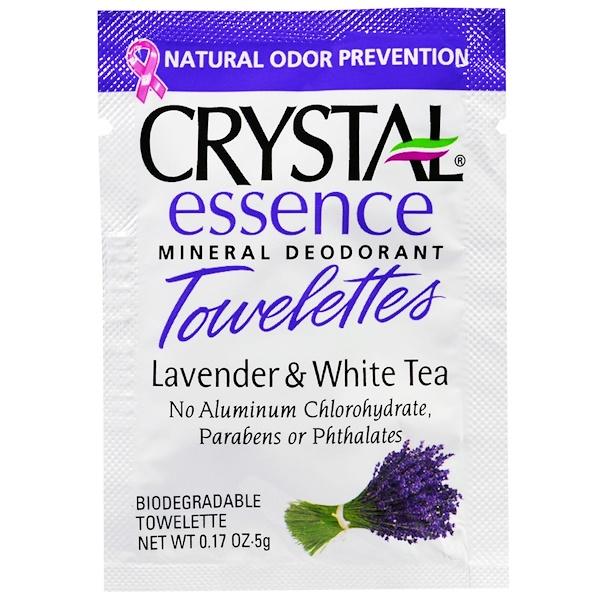 Crystal Body Deodorant, クリスタルエッセンス、ミネラル消臭ウェットティッシュ、ラベンダー&ホワイトティー、ウェットティッシュ48枚 (Discontinued Item)