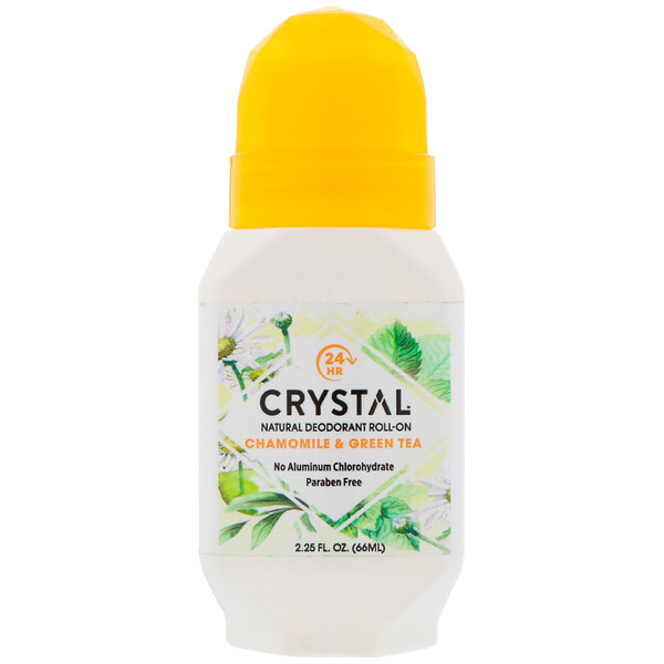 Crystal Body Deodorant, Desodorante natural roll-on, Manzanilla y Té Verde, 2.25 fl oz (66 ml)