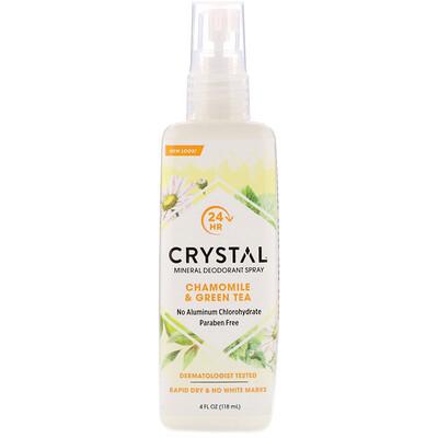 Купить Crystal Body Deodorant Минеральный дезодорант-спрей с ромашкой и зеленым чаем, 118 мл (4 жидких унции)